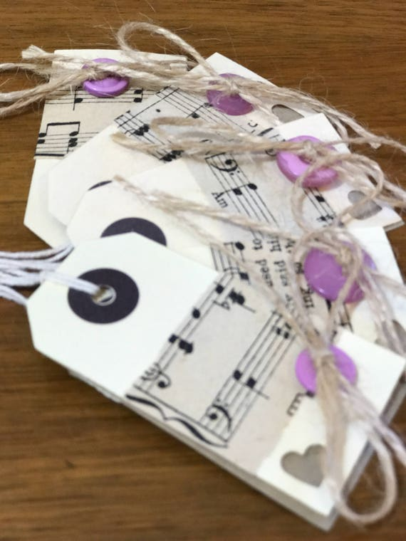 Gift Tag Pack of 5 | Music Sheet Decorated Tags | Shabby Chic Style Gift Tags | Decorative Luggage Tags | Music Lover Gift Tags