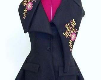 Black tweed embroidered waistcoat
