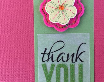 Vintage Felt 3-D Thank You Card (3-pack)