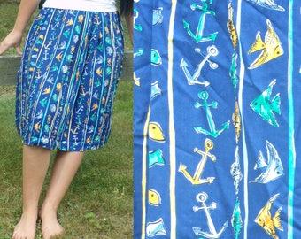 Vintage Pendleton Anchor & Fish Skirt, Nautical Skirt, Preppy Skirt, Summer Skirt, Beach Skirt, Knee Length Skirt, Anchors, Fish,Large Skirt