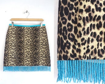 "90s Beaded Cheetah Skirt Leopard Mini Skirt Cache Animal Print Micro Mini Skirt with Blue Silk Satin & Beads 30"" Waist Skirt Womens Medium"