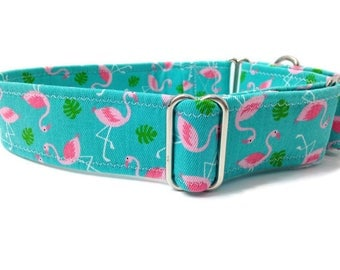 Flamingo Martingale,  1.5 Inch Martingale Collar, Dog Collar Flamingo, Martingale Dog Collar, Greyhound Collar, teal and pink flamingos