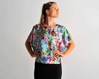MARIA tunic top in floral print - sizes S and M