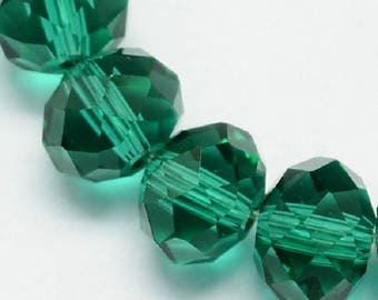 """Seagreen 4x3mm Rondelle Faceted Crystal Glass Beads (17"""" Strand)"""