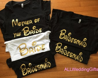 Disney Bachelorette Party Shirt Set of 9 Shirts, Bridal Party Shirts, Disney Wedding, Disney Bride Shirt, Disney Bridesmaid Shirts, Gold