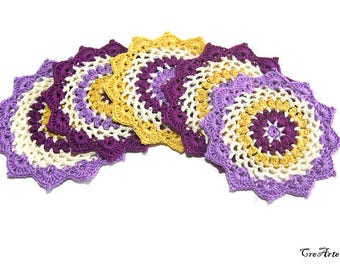 Set 5 colorful crochet coasters, set 5 sottobicchieri colorati
