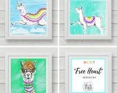 Llama prints, set of 3, Colorful Wall Art, 8x8, nursery decor, girls room decor, gift for her