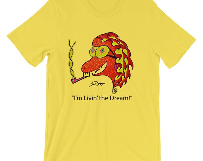 Yellow Cotton Tee Shirt Livin The Dream Cool Funny Radmadman Designs Short Sleeve Unisex T Shirt