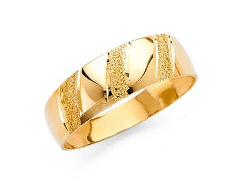 14k Solid Yellow Gold 6MM Tapered Men's Wedding Band Ring