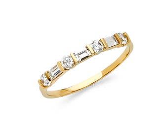 14k Solid Yellow Gold 050 Ct Simulated Cubic Zirconia Wedding Band Anniversary Ring Round And Baguette