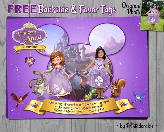 Sofia the First Invitation - Princess Sofia Invite - Digital Disney Princess Birthday Party - Fully Customizable with Photo