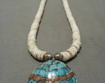 Gorgeous Vintage Santo Domingo Turquoise Shell Silver Necklace