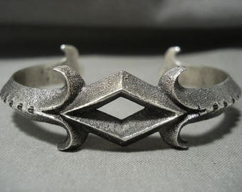 Rare Navajo Aaron Anderson Tufa Casted Silver Bracelet