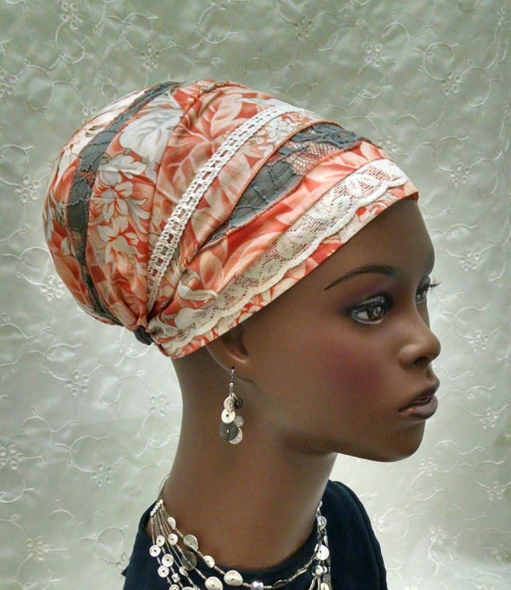 soft orange and grey cotton voile sinar tichel, lace, head wrap, tichels, head scarf, jewish head covering, sinar, apron tichel, lightweight
