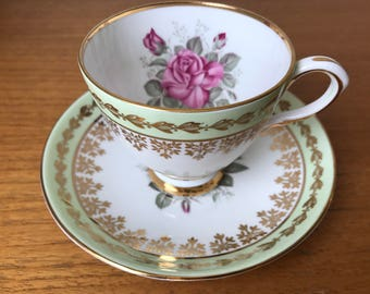 Vintage Elizabethan Pink Rose Tea Cup and Saucer, Mint Green and Gold Teacup and Saucer set, Bone China, Garden Tea Party Gift Ideas