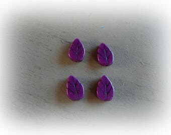 4 beads in howlite 13 * 9 mm purple color leaf