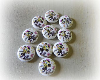 10 buttons round 15 mm wooden funny monkey