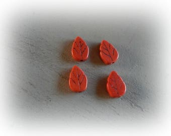 4 beads leaf 13 * 9 mm Orange howlite