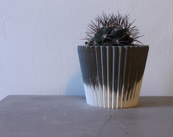 White and Charcoal Concrete Planter