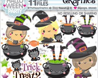 Halloween Clipart, 80%OFF, Halloween Graphic, COMMERCIAL USE, Halloween Party, Halloween Witch, Halloween Celebration, Halloween Kawaii