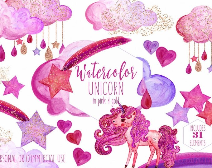 PINK & GOLD UNICORN Clipart Commercial Use Clip Art Purple and Pink Rainbow Watercolor Unicorn Rain Clouds Rain Drops Shooting Star Graphics