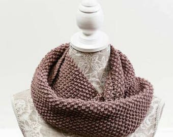 Double-wrap moss cowl, mid  brown, natural tones, 100% Australian wool, infinity scarf, snood, loop scarf, neck warmer. Hand Knitted