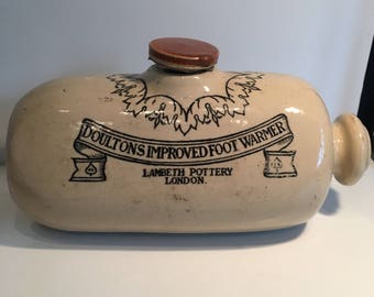 Antique Doultons Foot Warmer Lambeth pottery England