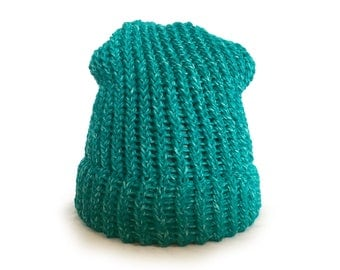Teal Knitted Slouch Hat - Ready To Ship Adult/Teen Knitted Beanie