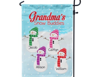 Grandmas Garden Flag - Winter Garden Flag, Snowman Grandkids, Grandmother Yard Sign Personalized Name Garden Decor Flag - Mothers Day Gift