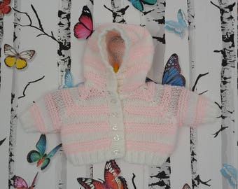 Newborn Cardigan, Hooded Cardigan, Girls Cardigan, Pink And White Cardigan, Knitted Cardigan, Handmade