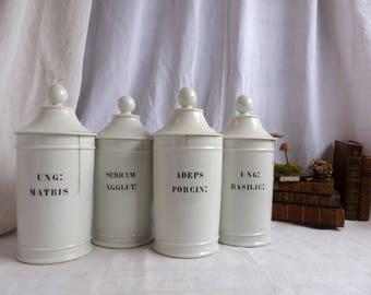 One Antique french Paris porcelain pharmacy jar. Antique porcelain Napolean III. Curiosties cabinet. Vintage scientific. Antique pharmacy