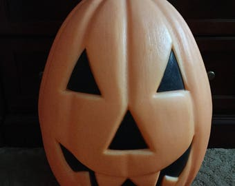 Vintage extra large Halloween Jack o Lantern, light up plastic blow mold,