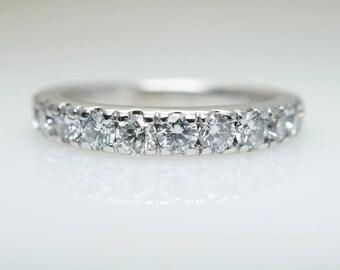 Vintage 1 ct Diamond Wedding Band Anniversary Ring in 14k White Gold 1ct