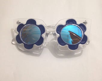 Flower Sunglasses, Blue, Clear Frame, Reflective Lens
