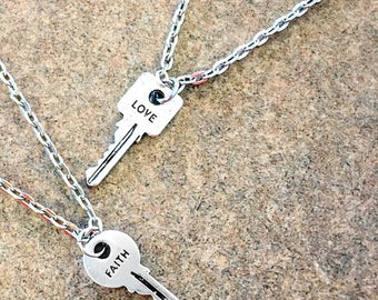 Key pendant necklace | faith | love | hand stamped | giving keys | boho jewelry