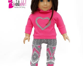 American made Girl Doll Clothes, 18 inch Doll Clothing, Pullover, Pink/Gray Leggings made to fit like American girl doll clothes