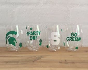 Michigan State Wine Glass - Spartan Wine Glass - Michigan State Gift - Stemless wine glass - shatterproof wine glass- michigan