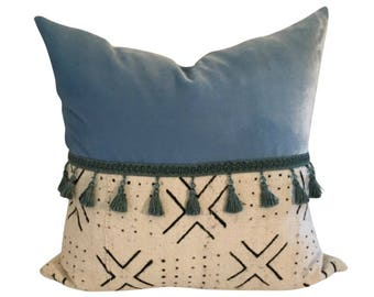 Blue Mud Cloth Pillow, Mud Cloth Pillow, Mudcloth Pillow, Blue Velvet Pillow Cover, Blue Boho Pillow