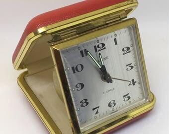Retro Alarm clock, Travel Alarm clock, German alarm clock, Bedside Alarm clock, vintage travel clock, Deluxe alarm clock, 70's alarm clock