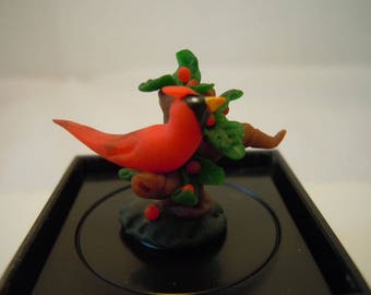 Miniature Cardinal Figurine ~ Handmade ~ Bird ~ Artisan ~ Miniature ~ Fairy garden ~ Dollhouse ~ Terrarium ~ Accessories