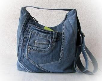 denim crossbody bag, jean blue sling bag, jean messenger bag, denim crossbody purse, shoulder bag, recycled clothing, vegan denim purse