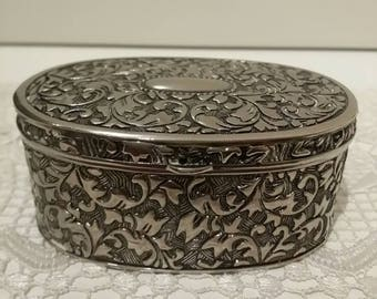 Vintage Metal Trinket Box/Lined/Art Nouveau Style Ring/Necklace Box