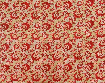 """Indian Cotton Fabric, Sewing Designer Fabric, Floral Print, Beige Fabric, 41"""" Inch Quilting Fabric By The Yard ZBC9254A"""
