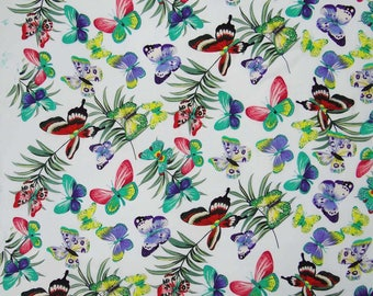 """Butterfly Print, White Fabric, Dressmaking Fabric, Sewing Decor Accessories, 50"""" Inch Cotton Fabric By The Yard ZBC7561A"""