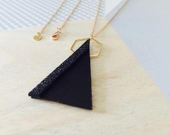 Black leather triangular necklace / Geometric Necklace / Black leather triangular necklace
