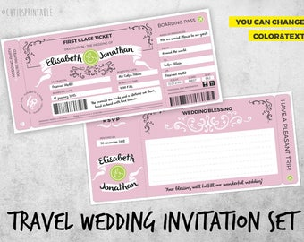 Travel Wedding Invitation Set - Boarding Pass Wedding Invitations - Plane Ticket Invitations For a Destination Wedding - Instant Download