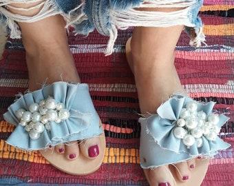 Greek sandals/handmade sandals/sandals/shoes/pearls sandals/jeans/slide sandals/women's sandals/leather sandals/leather shoes/wedding sandal