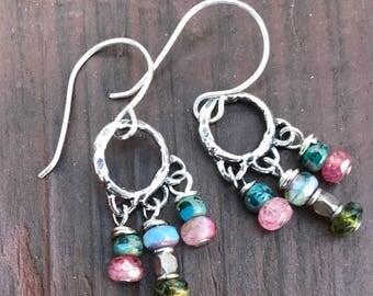 Earrings, boho earrings, chandelier earrings, sterling earrings, beaded earrings