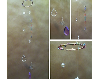 "Handmade CRYSTAL MOBILE ~ ""Window Jewelry"" ~ 28"" Clear & Lavender Crystal Pendants Plus Charm"