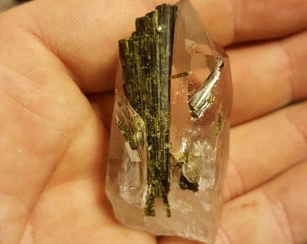 Rare Epidote included quartz crystal